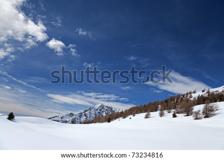Icy Valley. Top of Cane�s Valley during winter. Brixia province, Lombardy region, Italy