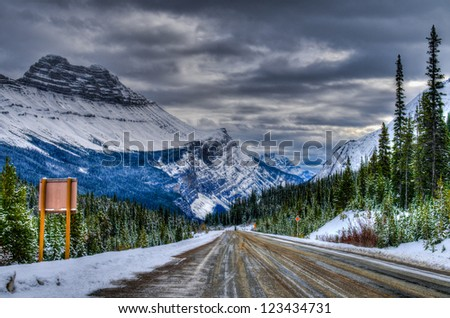 Icy winter road, Icefields Parkway, Banff and Jasper National Parks Alberta Canada
