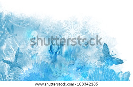 Icy winter scene of various crystalline elements, like ice flowers, snowflakes, ice textures and glass crystal animals in a layered composition
