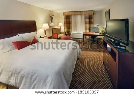Idaho Falls, Idaho, USA July 16, 2008 The interior of a mid-scale hotel room, with a king size bed