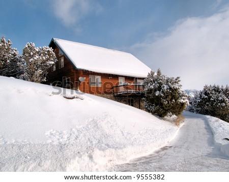Idaho Log Cabin in Winter