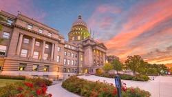 Idaho State Capitol Building at dawn in Boise, Idaho, USA.