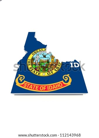 idaho state flag on 3D map - stock photo