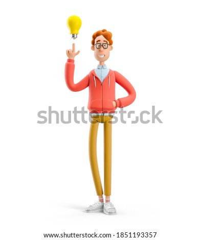 Idea and innovation technology concept. Nerd Larry  with lightbulb. 3d illustration.