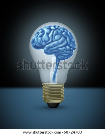 Idea brain light bulb innovation brilliant bright light