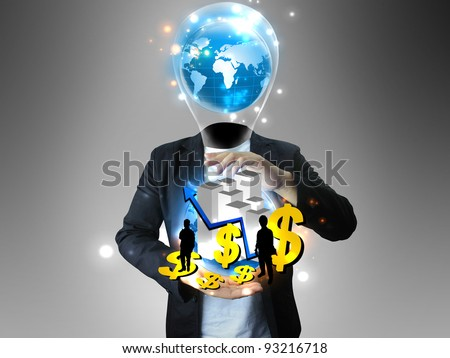 Idea businessman holding business world