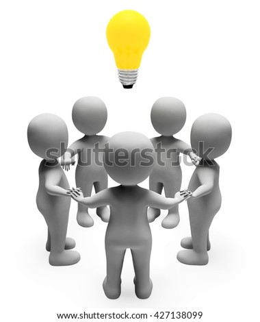 Idea Characters Meaning Light Bulb And Contemplation 3d Rendering