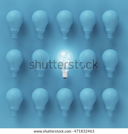 Idea concept : Creative light bulb Idea concept on blue background, flat lay , minimal concept #471832463