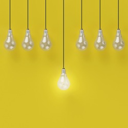 Idea concept : Creative light bulb Idea concept on yellow background, flat lay , minimal concept