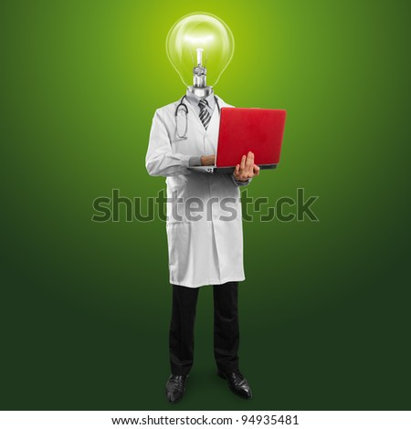Idea concept, doctor man with lamp head, with laptop in his hands