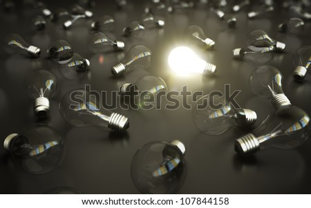 idea concept, glow among other light bulb