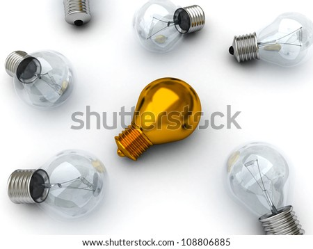 Idea concept golden lying bulb out from others bulbs on white background - stock photo
