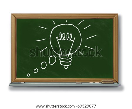 Idea concept innovation new thoughts invention spark of genius black board chalk isolated - stock photo