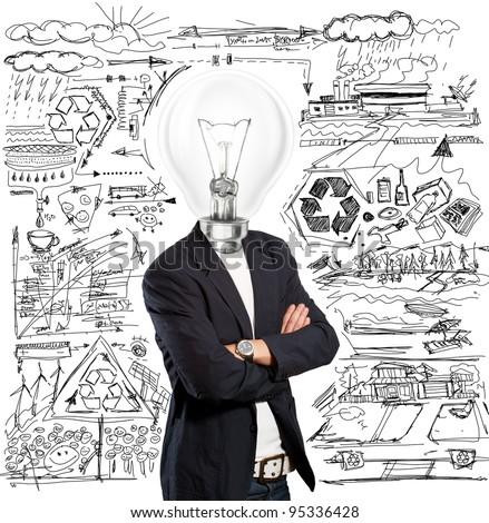 Idea concept, lamp head businessman have got an idea