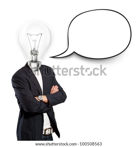 Idea concept, lamp head businessman with speech bubble