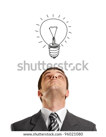 idea concept with businessman looking upwards, with suit and necktie