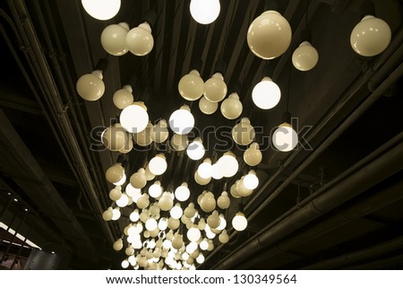 idea concept with light bulbs on a underview background
