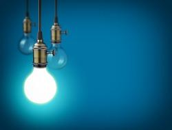 Idea concept with vintage light bulbs