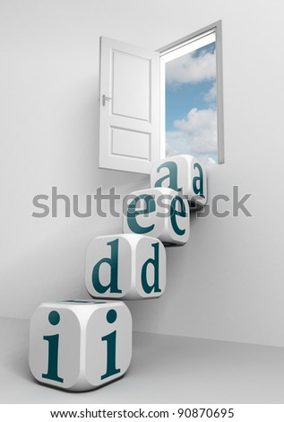 idea conceptual door and box ladder in white room
