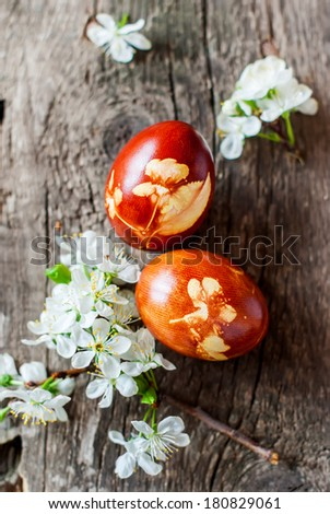 Idea for Decoration of Easter Eggs using Fresh Cherry Flowers and Onions Peels