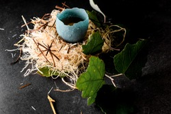 idea for molecular cuisine dishes. Egg in blue glazed shell in wood fiber nest decorated with green leaves