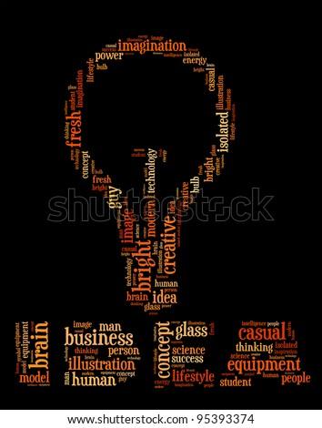 Idea info text design and arrangement concept.