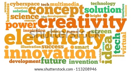 idea info-text graphics and arrangement concept on white background (word cloud)