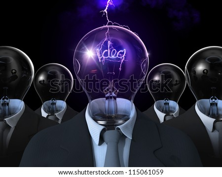 Idea Light bulb in a suit 3D