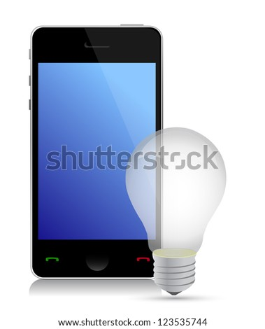 idea mobile phone illustration design over white