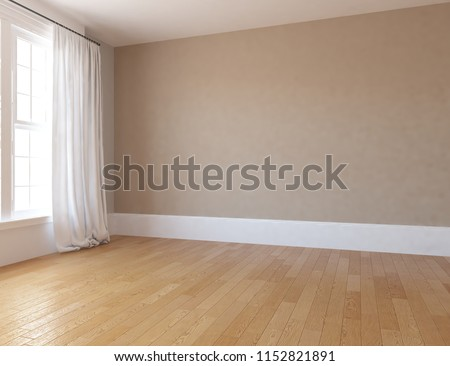 Idea of a beige empty scandinavian room interior with vases on the wooden floor and large wall and white landscape in window with curtains. Home nordic interior. 3D illustration