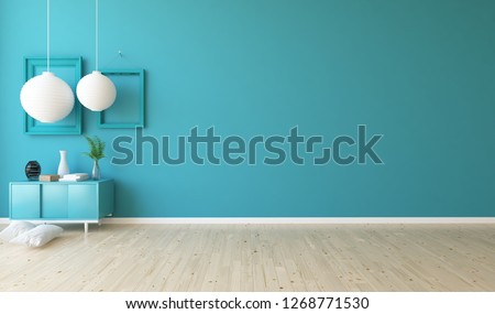 Idea of a blue empty scandinavian room interior with dresser on the wooden floor and large wall and white landscape in window. Home nordic interior. 3D illustration