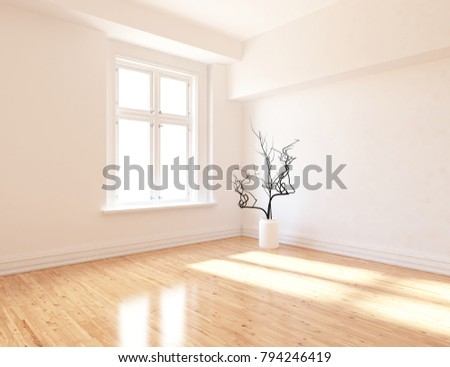 Idea Of A White Empty Scandinavian Room Interior With Vase On The