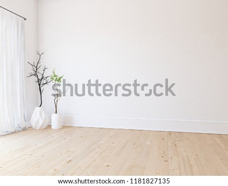Idea of a white empty scandinavian room interior with vases on the wooden floor and large wall and white landscape in window with curtains. Home nordic interior. 3D illustration #1181827135
