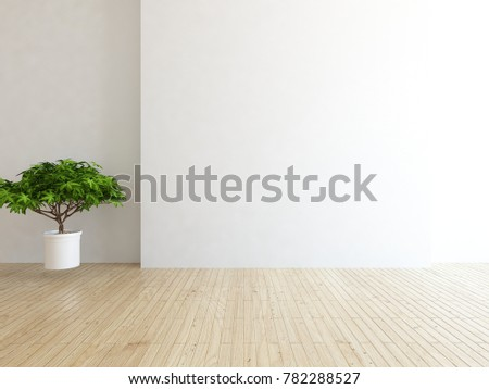 Idea of a white empty scandinavian room interior with vintage wooden floor and white landscape in window. Home nordic interior. 3D illustration