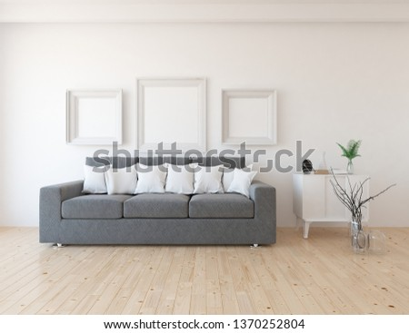 Idea of a white scandinavain living room interior with sofa, dresser, vases on the wooden floor and frames on the large wall and white landscape in window. Home nordic interior. 3D illustration #1370252804