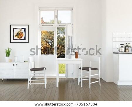 Idea of a white scandinavian kitchen room interior with autumn landscape in window. 3D illustration #785167384