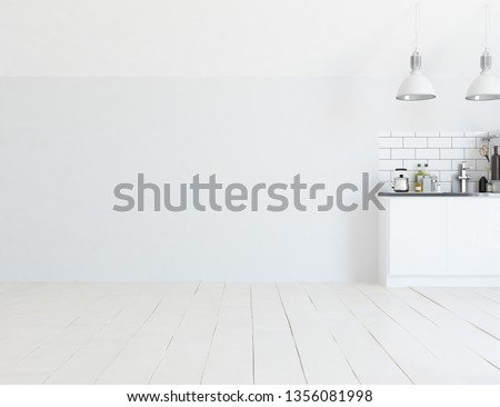 Idea of a white scandinavian kitchen room interior with dinning furniture and large wall and white landscape in window. Home nordic interior. 3D illustration