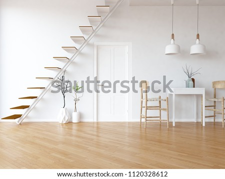 Idea of a white scandinavian kitchen room interior with dinning furniture and stairs, door and large wall and white landscape in window. Home nordic interior. 3D illustration
