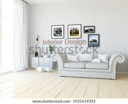 Idea of a white scandinavian living room interior with classic sofa, dresser on the floor and pictures on the large wall and white landscape in window with curta. Home nordic interior. 3D illustration #1035614392