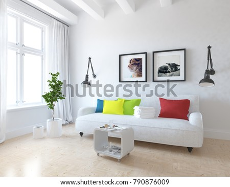 Idea of a white scandinavian living room interior with sofa and decor on the wall and white landscape in window with curtains. Home nordic interior. 3D illustration #790876009