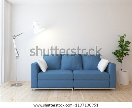 Idea of a white scandinavian living room interior with sofa, vases on the wooden floor and decor on the large wall and white landscape in window. Home nordic interior. 3D illustration #1197130951