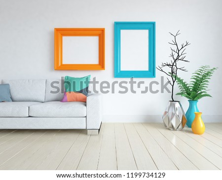 Idea of a white scandinavian living room interior with sofa, vases on the wooden floor and decor on the large wall and white landscape in window. Home nordic interior. 3D illustration