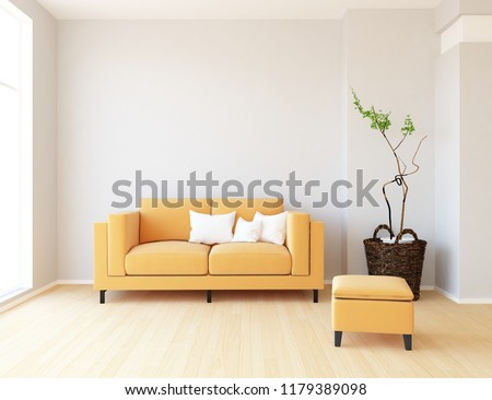 Idea of a white scandinavian living room interior with sofa, vases on the wooden floor and large wall and white landscape in window. Home nordic interior. 3D illustration #1179389098