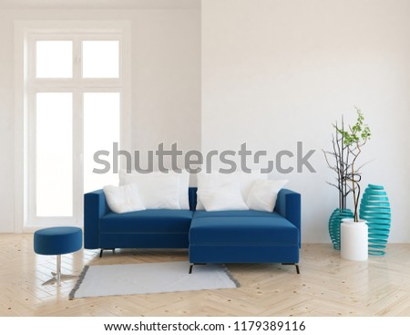 Idea of a white scandinavian living room interior with sofa, vases on the wooden floor and large wall and white landscape in window. Home nordic interior. 3D illustration #1179389116
