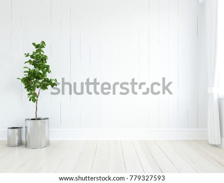 Idea of a white scandinavian room interior. Nordic home interior. 3D illustration