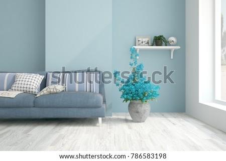 Idea of blue minimalist room with sofa. Scandinavian interior design. 3D illustration