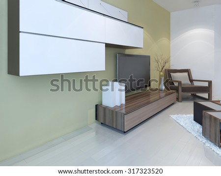 Idea of fusion living room. Wall panel system, light laminale flooring and two colored walls, light tan and white. 3D render Stock fotó ©