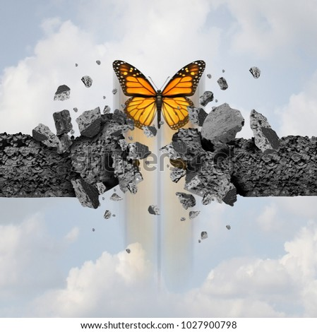 Idea of strength and unstoppable power concept as a butterfly breaking through a cement wall in a 3D illustration style. Stock photo ©