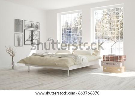 Shutterstock Idea of white bedroom with winter landscape in window. Scandinavian interior design. 3D illustration