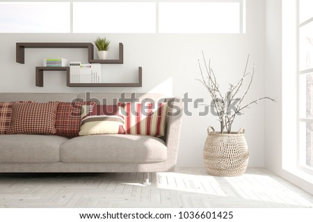 Idea of white minimalist room with sofa. Scandinavian interior design. 3D illustration #1036601425